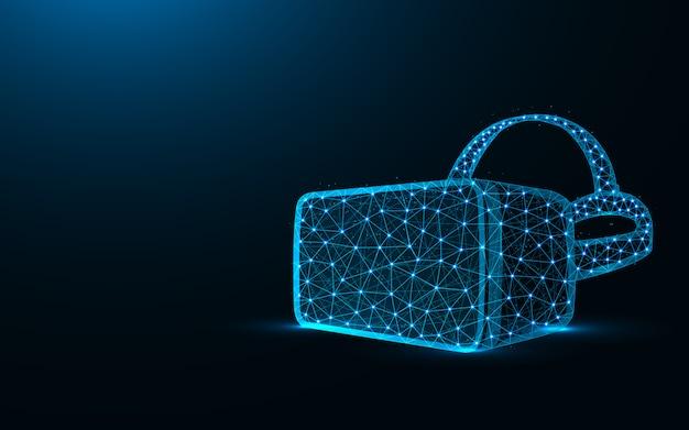 Occhiali vr design basso poli, realtà virtuale occhiali wireframe mesh illustrazione poligonale vettoriale realizzato da punti e linee