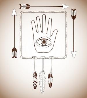Occhio dentro l'icona della mano