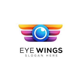 Occhio di colore moderno con disegno logo ali