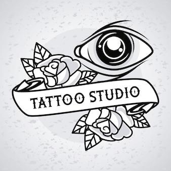 Occhio umano e rose tatuaggio grafico