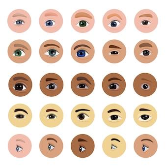 Occhio vista umana visione bellezza femminile vista delle sopracciglia ciglia e palpebra illustrazione set ottico di bellissimi occhi con bulbo oculare sano buco dell'occhio isolato su sfondo bianco