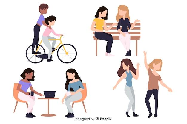 Occupazioni di giovani ragazze di design piatto personaggi