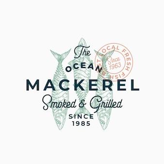 Ocean mackerel affumicato e grigliato. segno astratto, simbolo o modello di logo.