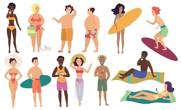 Ocean mare spiaggia attività estive persone carine illustrazione vettoriale set