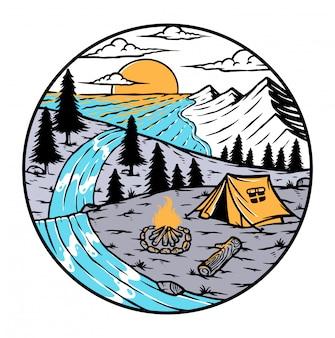Oceano alla fine dell'illustrazione del fiume