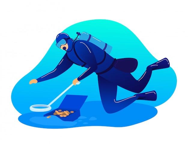 Oceano di ricerca di occupazione del subaqueo del personaggio maschile, caccia subacquea del tesoro del mare isolata su bianco, illustrazione del fumetto.