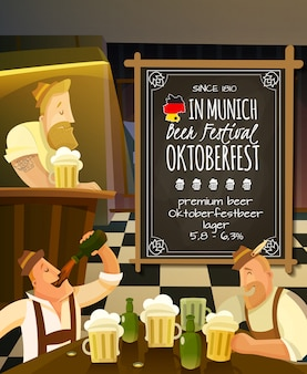 Octoberfest in pub illustration