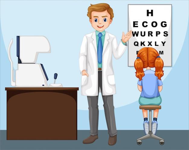 Oculista che lavora in clinica
