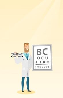 Oculista professionale che tiene gli occhiali.