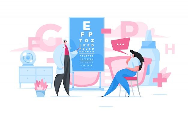 Oculista visita donna in clinica. illustrazione