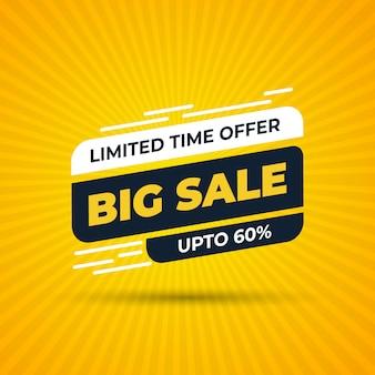 Offerta a tempo limitato banner speciale grande vendita con sconto percentuale