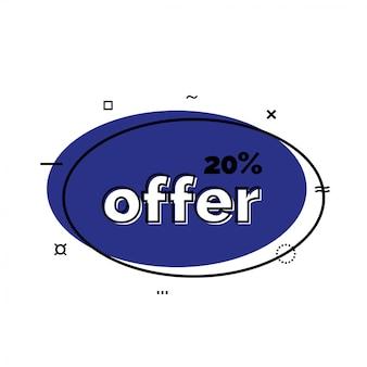 Offerta del venti per cento scritta sull'ovale. elemento di design di vendita.