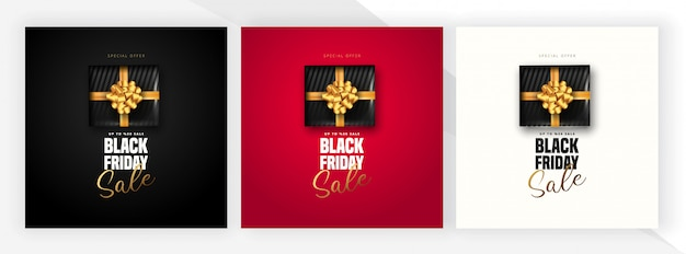 Offerta di sconto del 50% per le lettere di vendita del venerdì nero, confezione regalo nera su 3 colori diversi. può essere usato come poster, banner o modello.