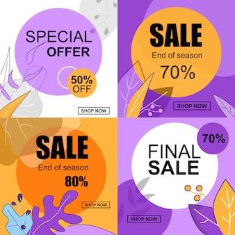 Offerta speciale 50 per cento di sconto in vendita a fine stagione