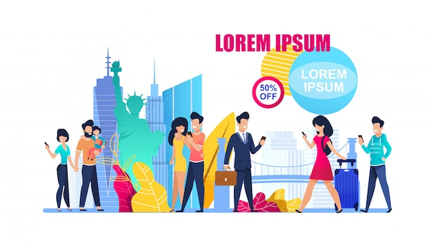 Offerta speciale banner illustration in world tour