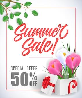 Offerta speciale di vendita dell'estate che segna nel telaio con le iridi in scatola su fondo bianco