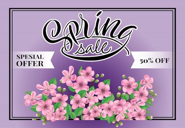 Offerta speciale di vendita di primavera 50% di sconto sul lettering. iscrizione creativa con fiori.