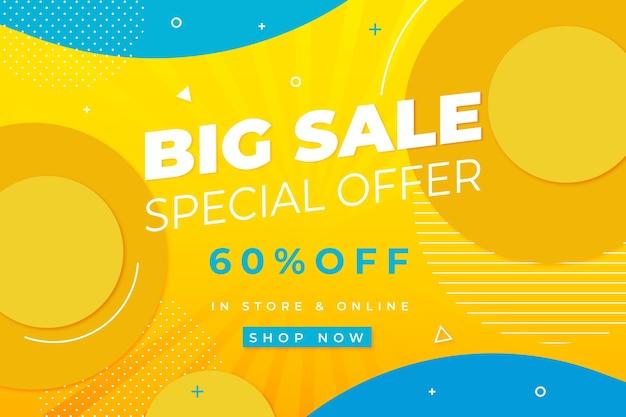 Offerta speciale grande vendita sfondo giallo con forme circolari