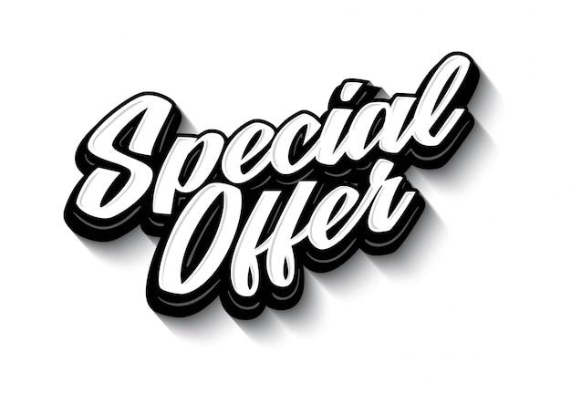 Offerta speciale lettering tag etichetta vettoriale