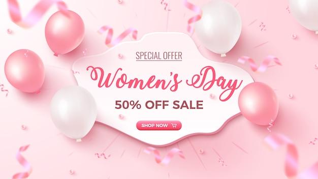 Offerta speciale per la festa della donna. sconto del 50% banner di vendita con forma personalizzata bianca, mongolfiere rosa e bianche, coriandoli di fogli cadenti su roseo. modello per la festa della donna.