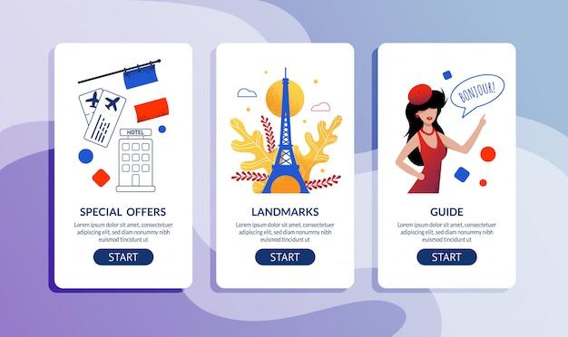 Offerta speciale per viaggiare in francia. set di pagine web