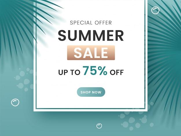Offerta speciale saldi estivi poster design con offerta scontata del 75% e foglie su sfondo turchese.