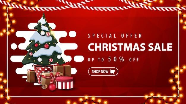 Offerta speciale, saldi natalizi, fino al 50% di sconto, banner sconto rosso con forma liquida astratta