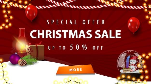 Offerta speciale, saldi natalizi, fino al 50% di sconto, banner sconto rosso per homepage il tuo sito web con lampada antica e globo di neve