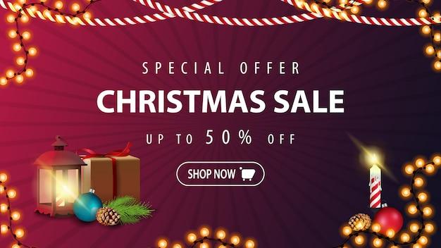 Offerta speciale, saldi natalizi, fino al 50% di sconto, moderno banner sconto viola in stile minimalista