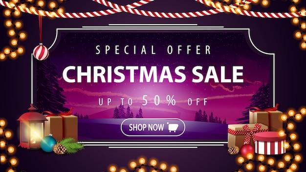 Offerta speciale, saldi natalizi, fino al 50% di sconto