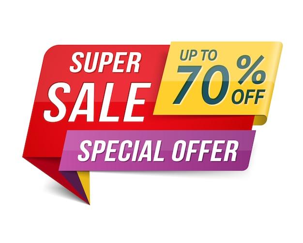 Offerta speciale super vendita banner, pubblicità, design di promozione