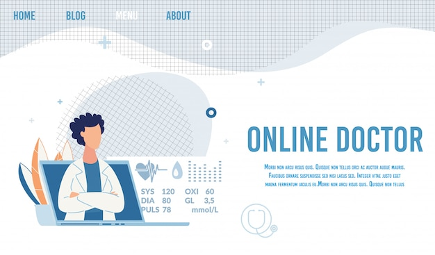 Offerta sulla pagina di destinazione medico online per consultazione