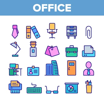 Office job elements icons set