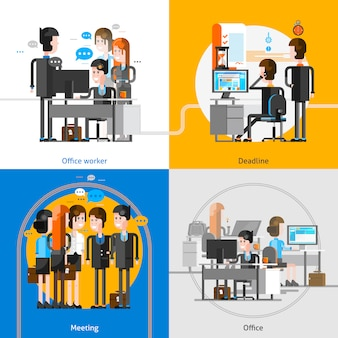 Office people 2x2 design concept