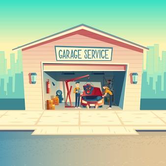 Officina di cartone animato con equipaggio meccanico che installa il motore. riparazione auto, fissaggio veicolo in garage