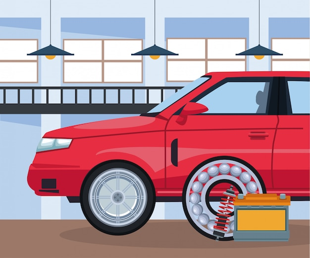 Officina riparazioni auto con auto rossa e batteria e disco freno