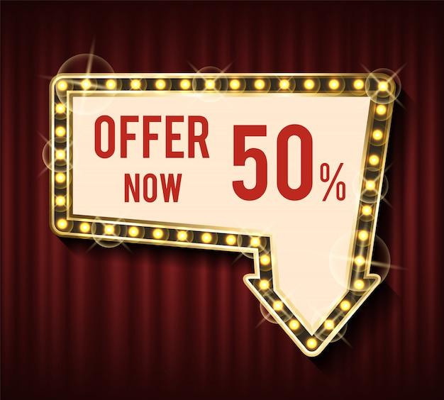 Offri ora il 50% di sconto, abbassando il prezzo banner