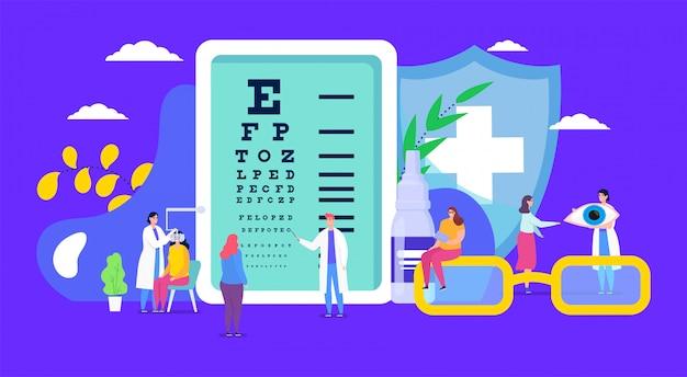Oftalmologia, salute degli occhi, personaggio paziente miopia minuscola del fumetto sul controllo dell'esame, correzione della vista sullo sfondo