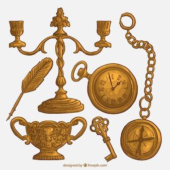Oggetti d'oro d'epoca disegnati a mano