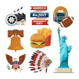 Oggetti di cultura degli americani usa.
