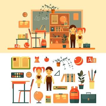 Oggetti ed elementi della scuola in stile piano, libri, alunni, lavagna, mensola, penna, banco scuola. aula scolastica