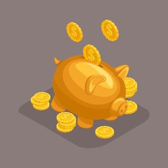 Oggetti isometrici alla moda, salvadanaio, concetto di deposito bancario, maiale dorato, monete d'oro che cadono dal cielo isolato