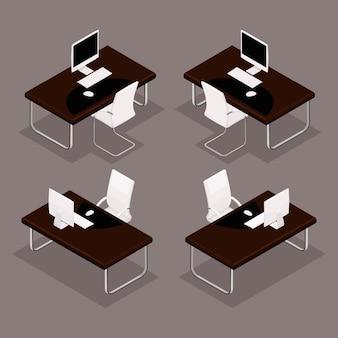 Oggetti isometrici di tendenza, tabella 3d con documenti, laptop, sedia, tastiera, mouse, vista frontale, vista posteriore, isolato
