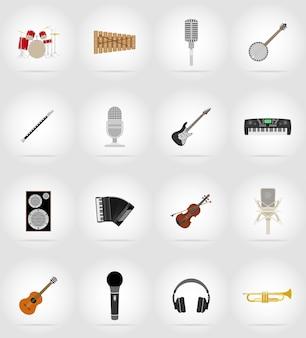 Oggetti musicali e icone piane di attrezzature.