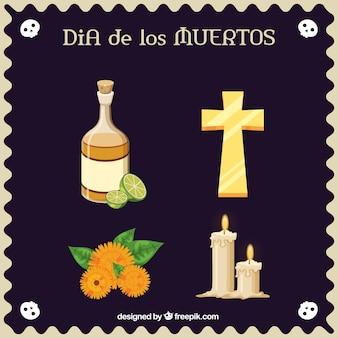 Oggetti piatti per celebrare il giorno dei morti