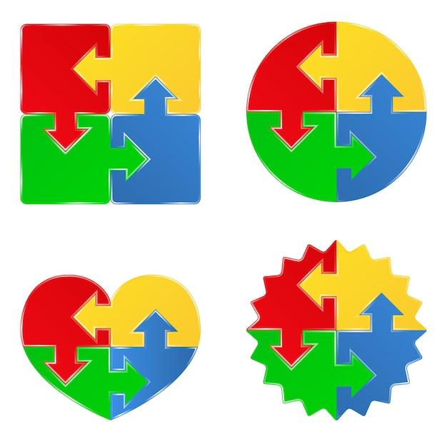 Oggetti puzzle a forma quadrata, a cerchio e a cuore