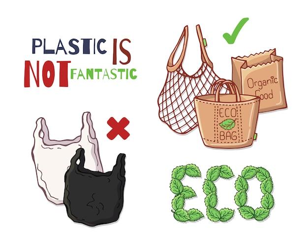 Oggetti riutilizzabili invece di plastica.