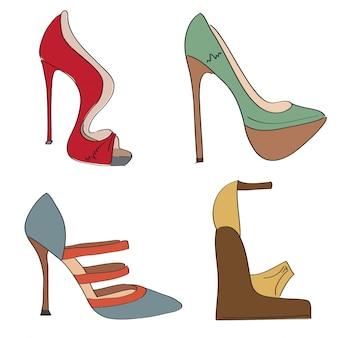 Oggetti scarpe impostate su un tacco alto isolato su sfondo bianco