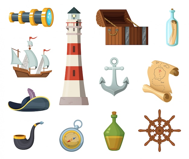 Oggetti vettoriali marini. petto, bussola, mappa del tesoro e altri oggetti in stile cartoon
