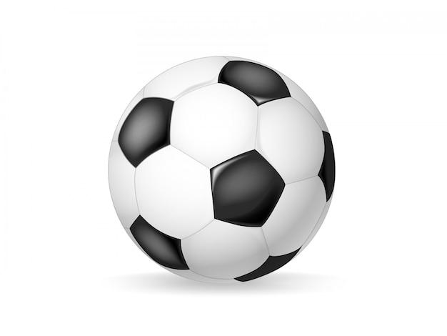 Oggetto classico di vettore del pallone da calcio isolato. pallone da calcio in pelle